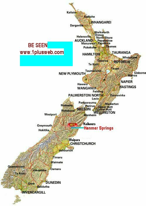 Map of New Zealand showing hamner springs